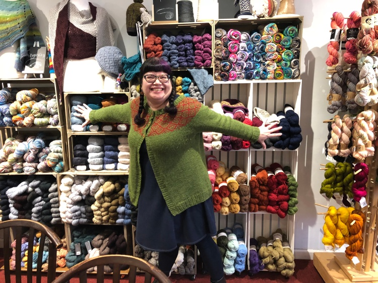 614 Knit Studio co-owner Andrea with yarn and classes